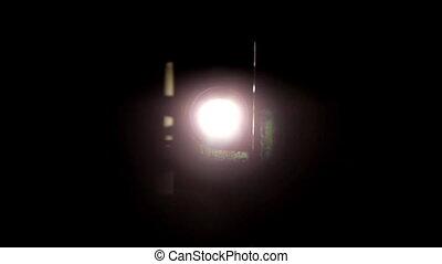 chamejando, luz, projetor