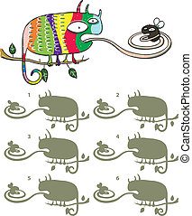 Chameleon And Fly Mirror Image Visual Game for children. ...
