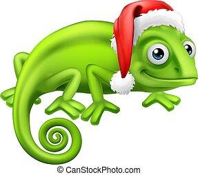 Chameleon at Christmas in Santa Hat Cartoon - A chameleon ...
