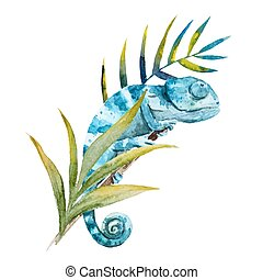 Beautiful vector image with nice watercolor chameleon