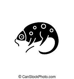 Chameleon black icon, vector sign on isolated background. Chameleon concept symbol, illustration