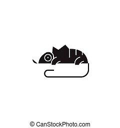 Chameleon black vector concept icon. Chameleon flat illustration, sign