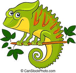 chameleon., caricatura, animal, africano