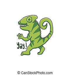chameleon cartoon hand drawn vector illustration