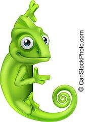 Chameleon Cartoon Lizard Character