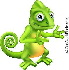Chameleon Cartoon Lizard Character - A chameleon green ...