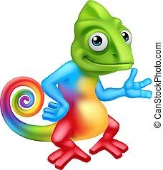 Chameleon Cartoon Lizard Character Standing