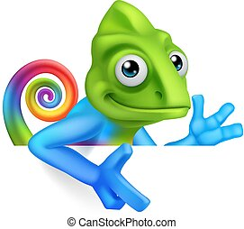 Chameleon Cartoon Peeking Over Sign Pointing