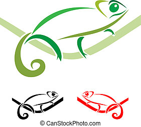 chameleon - Chameleon on a white background, vector