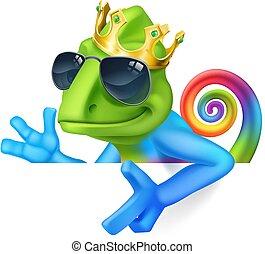 Chameleon Cool King Cartoon Lizard Character - A chameleon ...