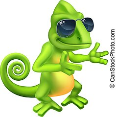 Chameleon Cool Shades Cartoon Lizard Character - A chameleon...