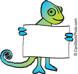 Chameleon Holding Sign