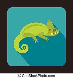 Chameleon icon, flat style