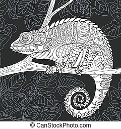Chameleon in black and white style