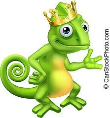 Chameleon King Crown Cartoon Lizard Character - A chameleon...