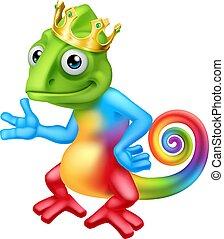 Chameleon King Crown Cartoon Lizard Character - A chameleon ...