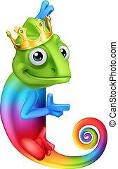 Chameleon King Crown Cartoon Lizard Character