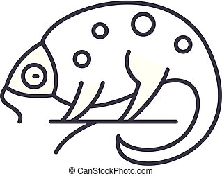 Chameleon line icon concept. Chameleon vector linear illustration, symbol, sign