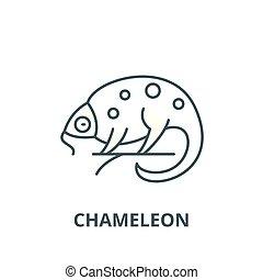 Chameleon line icon, vector. Chameleon outline sign, concept symbol, flat illustration