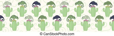 Chameleon lizard and cactus plant seamless border pattern. Green reptile repeatable tile vector illustration.