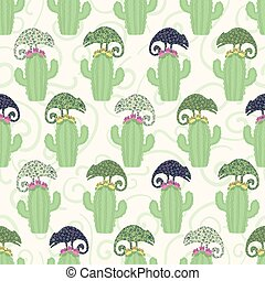 Chameleon lizard and cactus plant seamless pattern. Green reptile repeatable tile vector illustration.