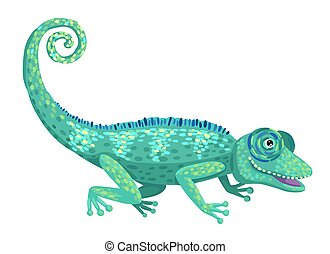 Chameleon lizard, wild tropical animal. Vector isolated illustration in cartoon flat style.