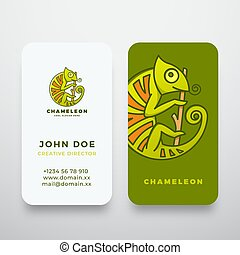 Chameleon on the Branch in a Circle Shape. Abstract Vector Logo and Business Card Template. Premium Stationary Realistic Mock Up.
