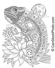 chameleonb, adulto, colorido, página