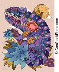 chameleonb, erwachsener, färbung, seite