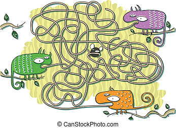 Chameleons Maze Game for children. Hand drawn illustration in eps10 vector mode. Task: Which Chameleon will get the fly? Answer: The orange one!