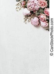 chameleucium, photo, stockage, fleurs, coin, locuste, plat, pivoine, isolé, bois, vue., floral, fleurs, sommet, hortensia, vertical., rose, appelé, tablebackground., blanc, roses, poser, botanique, arbre