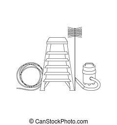 chaminé, ícones, varredor, ferramentas