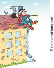 chaminé, caricatura, telhado, varredura