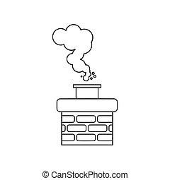chaminé, fumaça, vetorial, ícone
