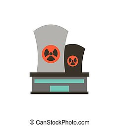 chaminé industrial, desenho, biohazard, isolado, vetorial
