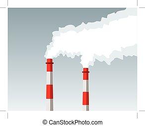 chaminé industrial, fumaça, poluição