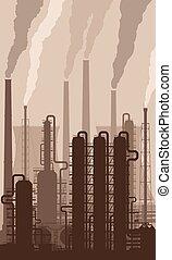 chaminés, refinaria, óleo, silueta, fumar