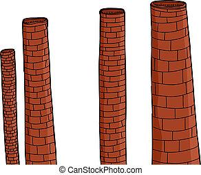 chaminés, tijolo, antigas