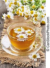 chamomile 茶, 中に, ガラス, カップ