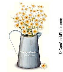 chamomile, achtergrond., lente, pot, vaas, realistisch, vector., illustraties, bloemen, 3d