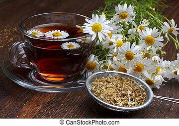 chamomile, drewniany, herbata, zasuszony, stół, kwiaty