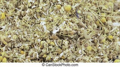 Bulk crushed chamomile apothecary with flowers and stems