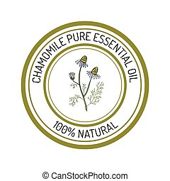 chamomile, essential oil label, aromatic plant