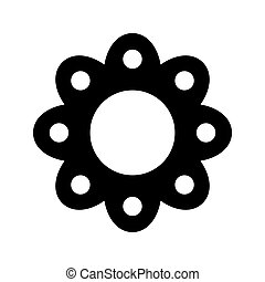 Chamomile flat vector black icon isolated on a white background cartoon style