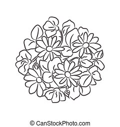 Chamomile floral rosette vector isolated composition.