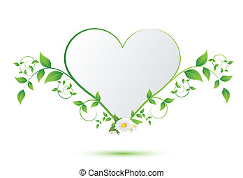 chamomile flower and green leaves in the shape of heart