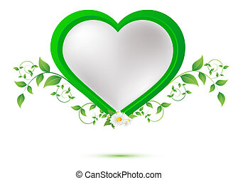 chamomile flower, green leaves in the shape of heart