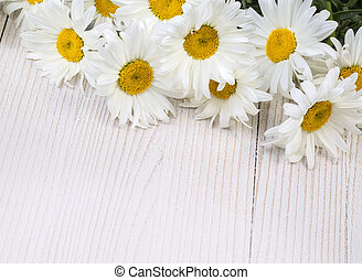 Chamomile flowers on  wooden