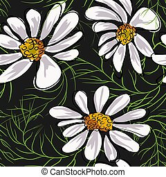 Chamomile flowers seamless pattern vector illustration. - ...