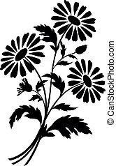 Chamomile flowers, silhouettes - Bouquet of chamomile ...